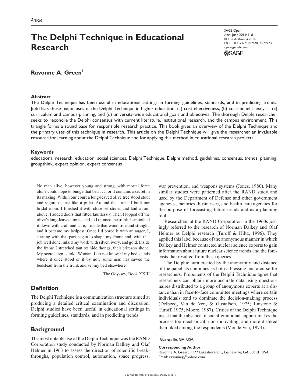 The Delphi Technique in Educational Research – topic of research