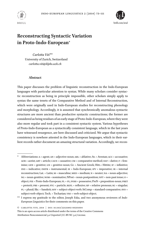 Faire Une Separation Entre 2 Pieces reconstructing syntactic variation in proto-indo-european