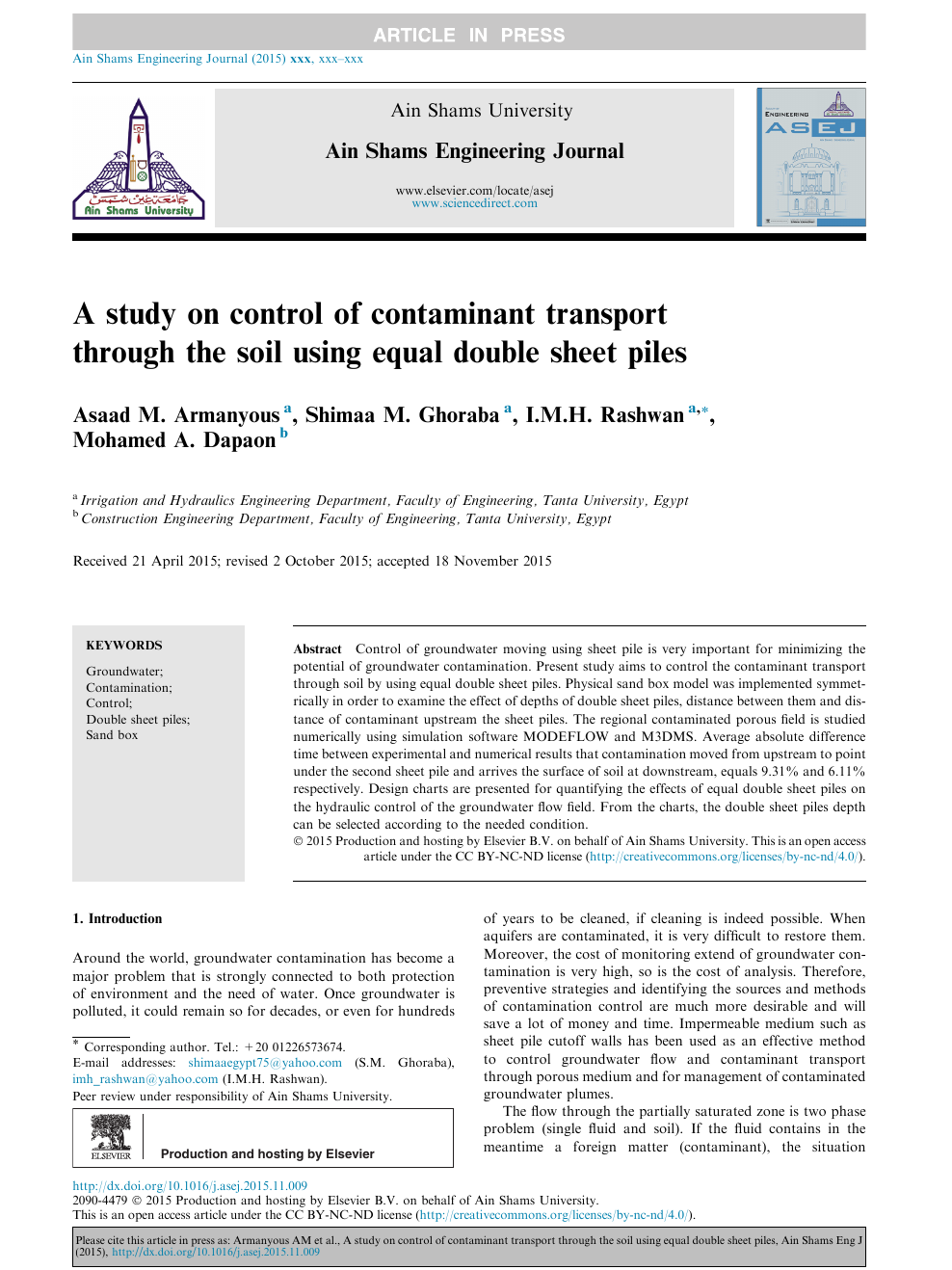 A study on control of contaminant transport through the soil using