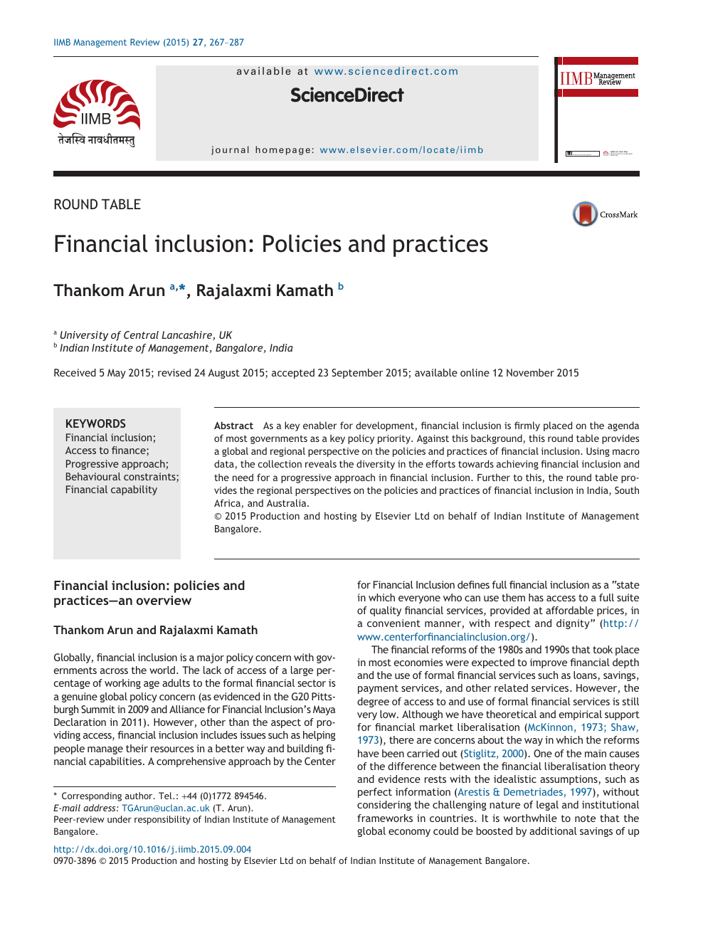 Financial inclusion: Policies and practices – topic of