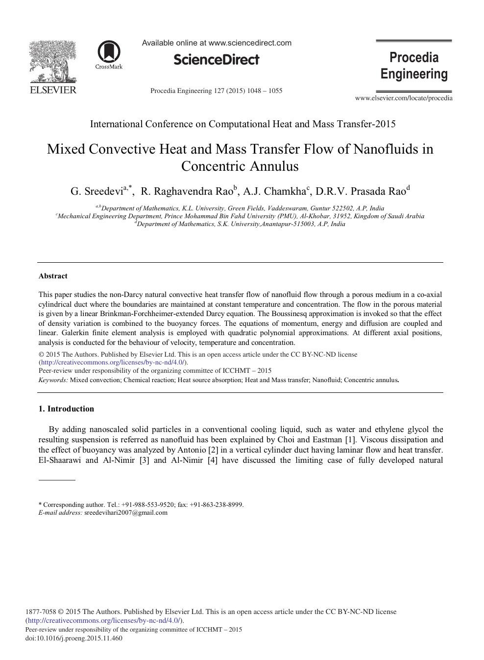 Mixed Convective Heat and Mass Transfer Flow of Nanofluids