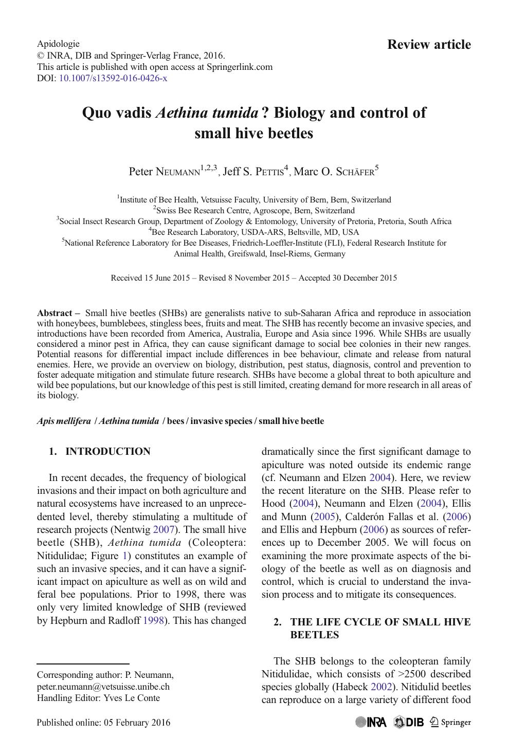 Quo vadis Aethina tumida? Biology and control of small hive