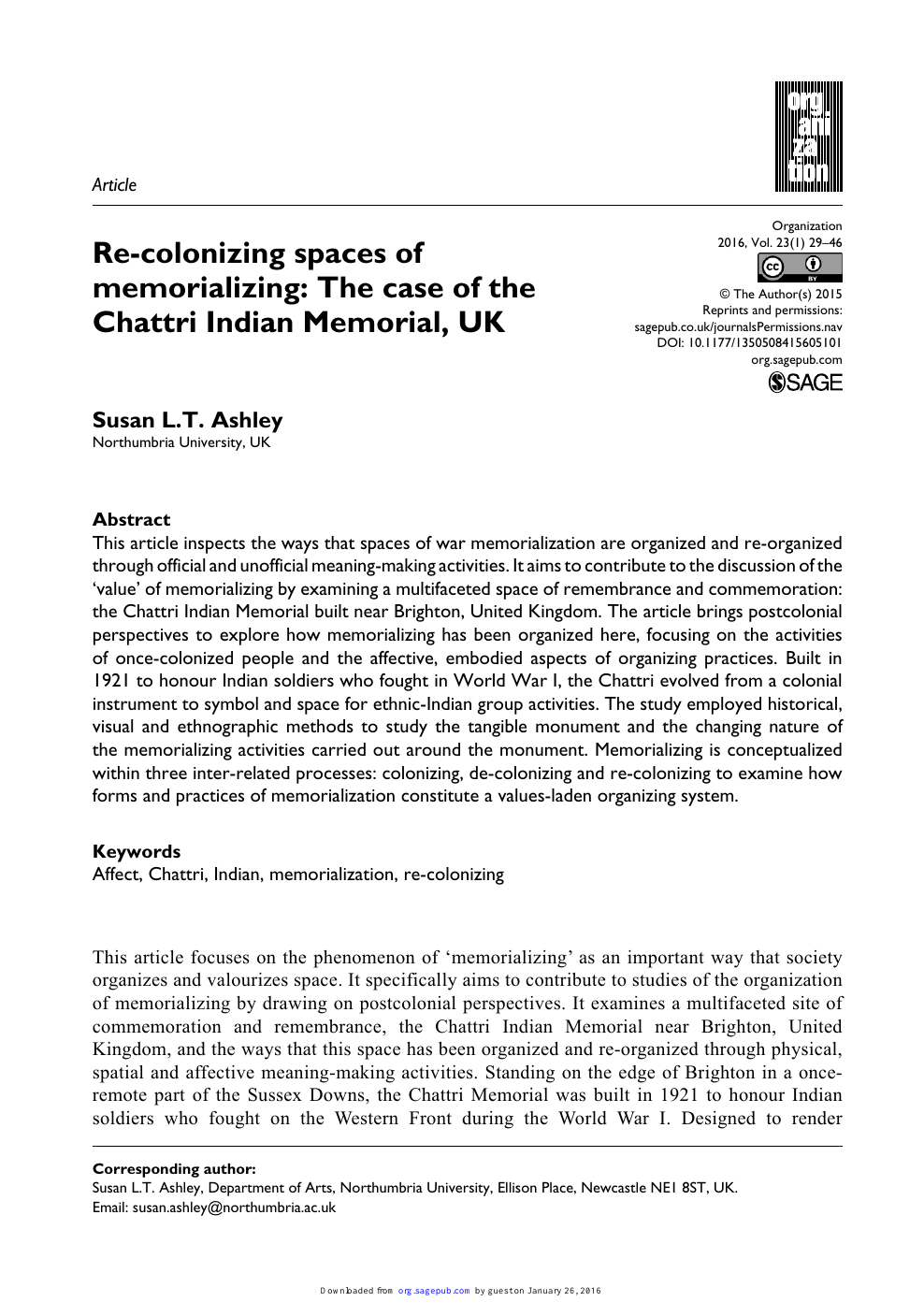 Re-colonizing spaces of memorializing: The case of the