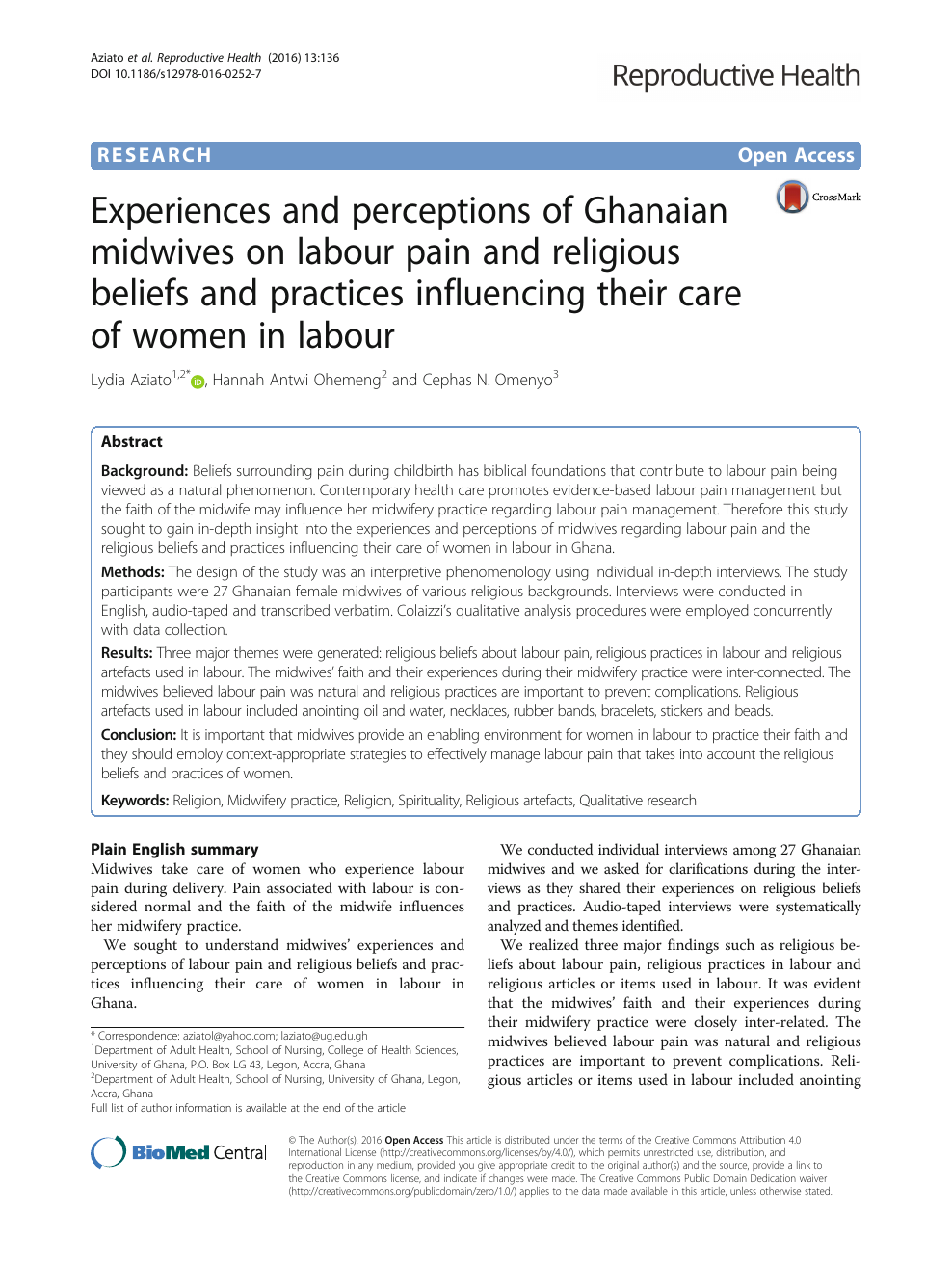 Experiences and perceptions of Ghanaian midwives on labour pain and