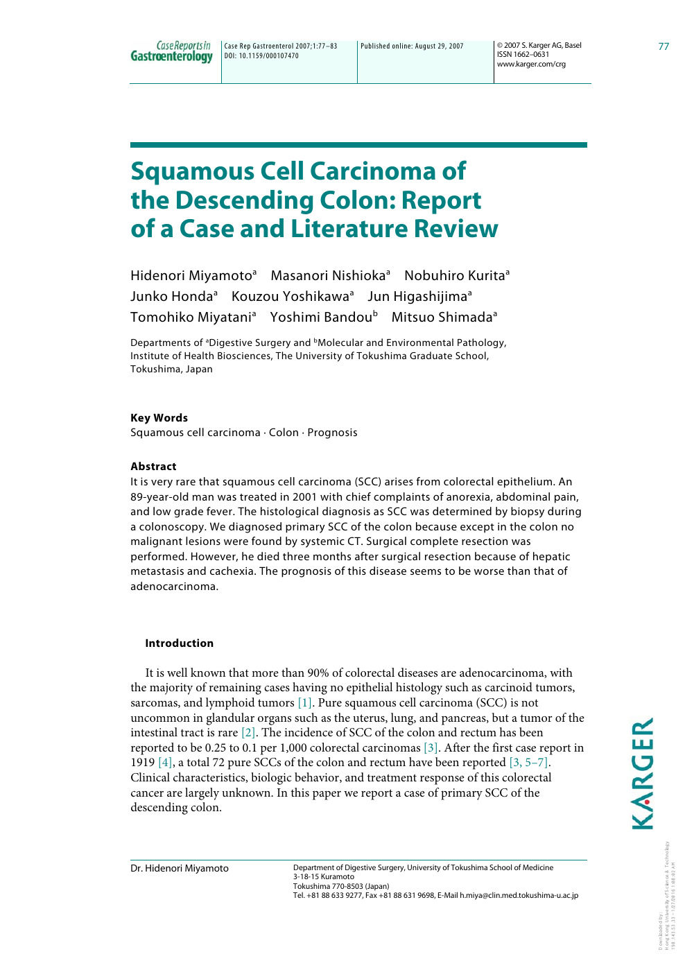 Squamous Cell Carcinoma Of The Descending Colon Report Of A Case And Literature Review Topic Of Research Paper In Clinical Medicine Download Scholarly Article Pdf And Read For Free On Cyberleninka