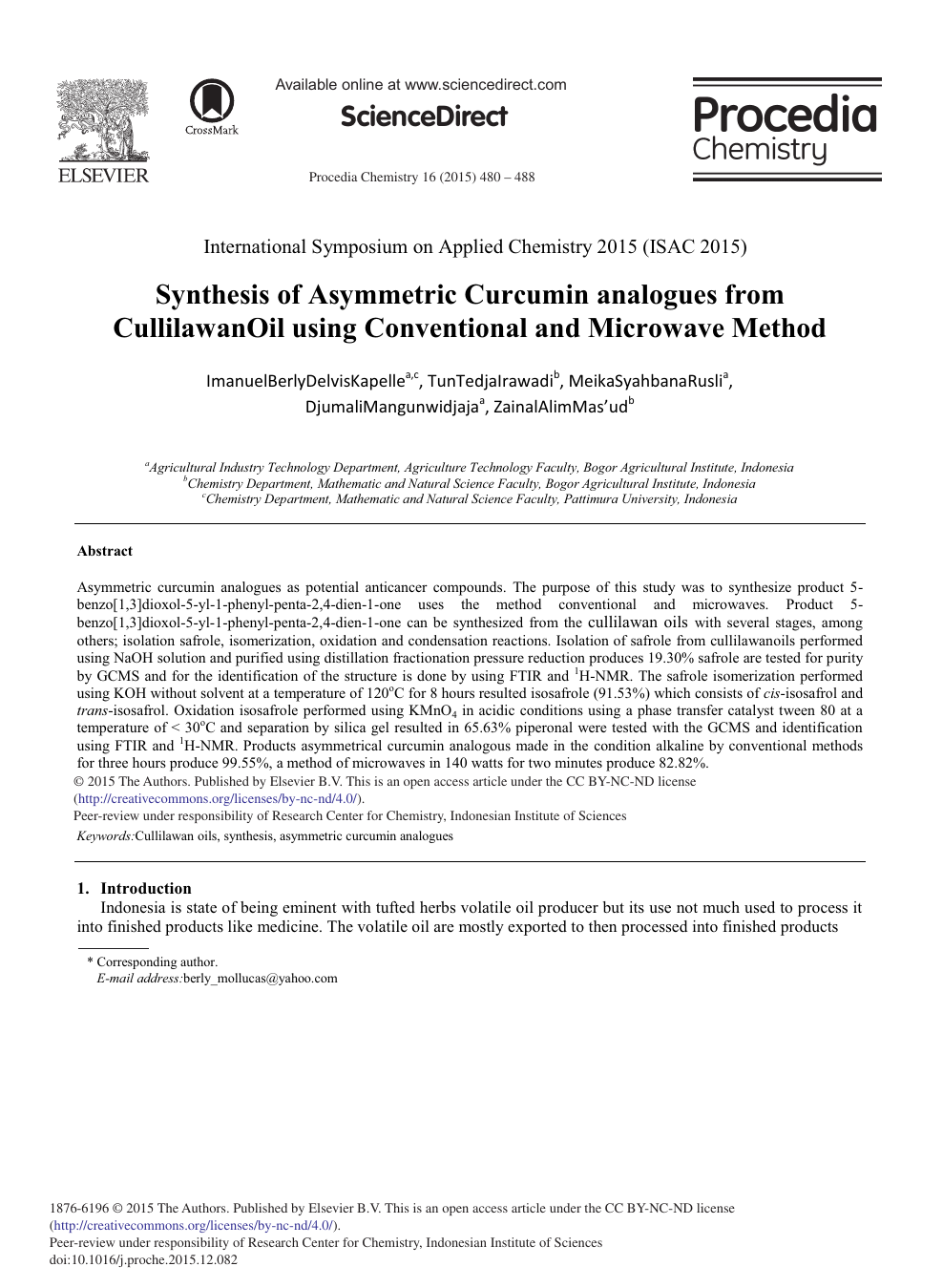 Synthesis of Asymmetric Curcumin Analogues from CullilawanOil using