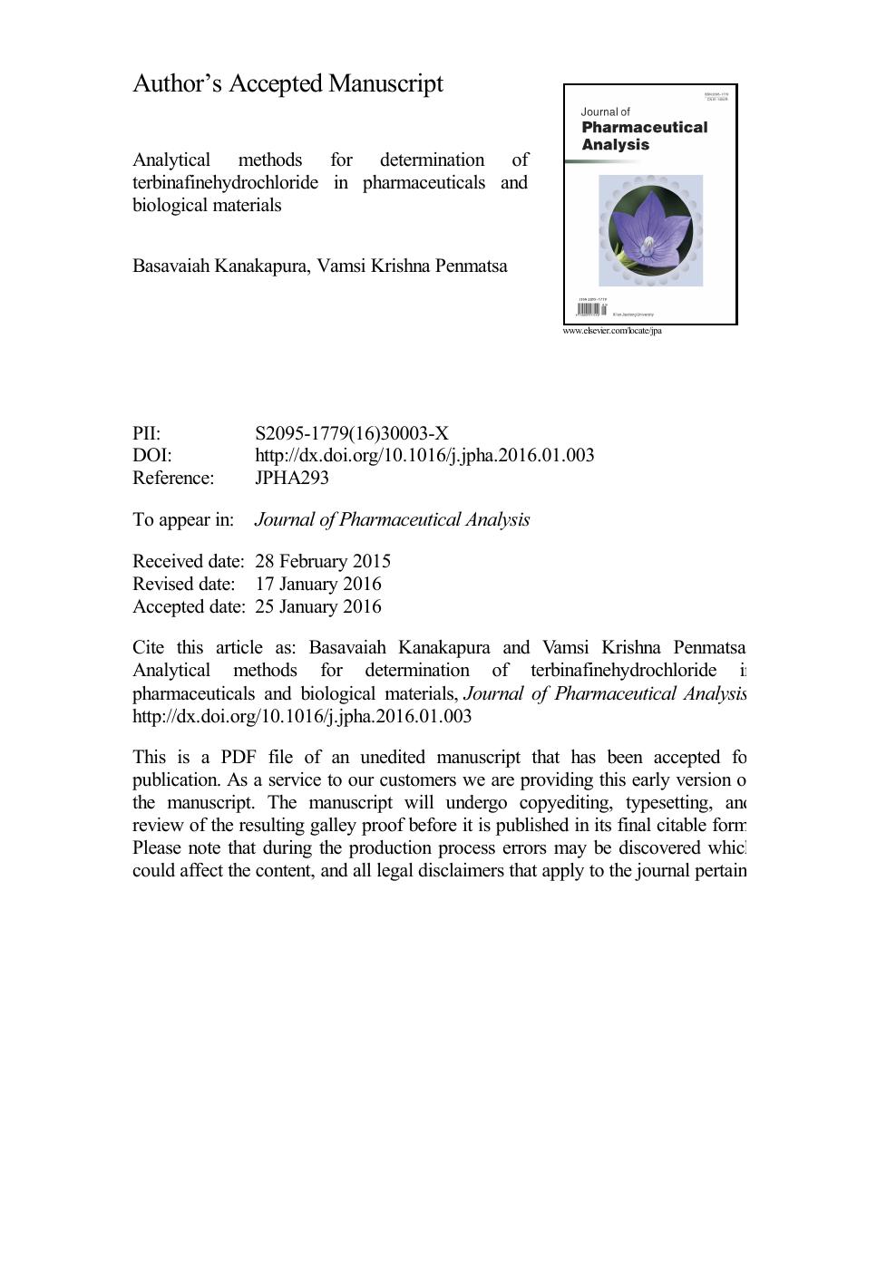 analytical methods for determination of terbinafinehydrochloride in rh cyberleninka org