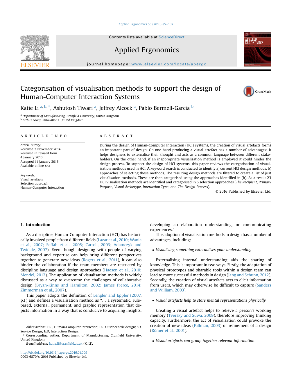 Categorisation Of Visualisation Methods To Support The Design Of Human Computer Interaction Systems Topic Of Research Paper In Educational Sciences Download Scholarly Article Pdf And Read For Free On Cyberleninka Open Science