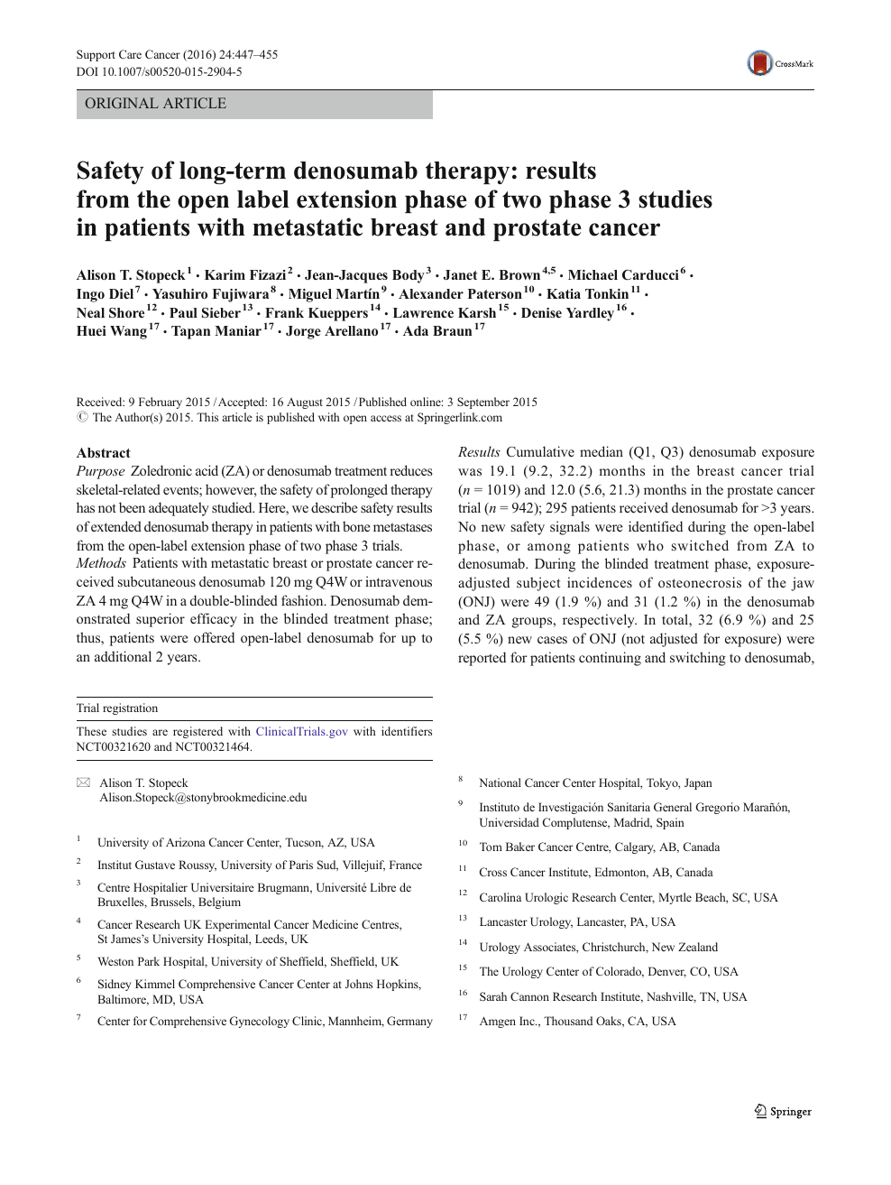 Safety of long-term denosumab therapy: results from the open