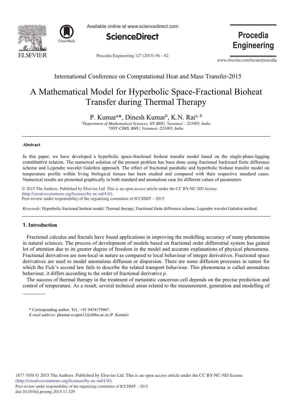 A Mathematical Model for Hyperbolic Space-fractional Bioheat