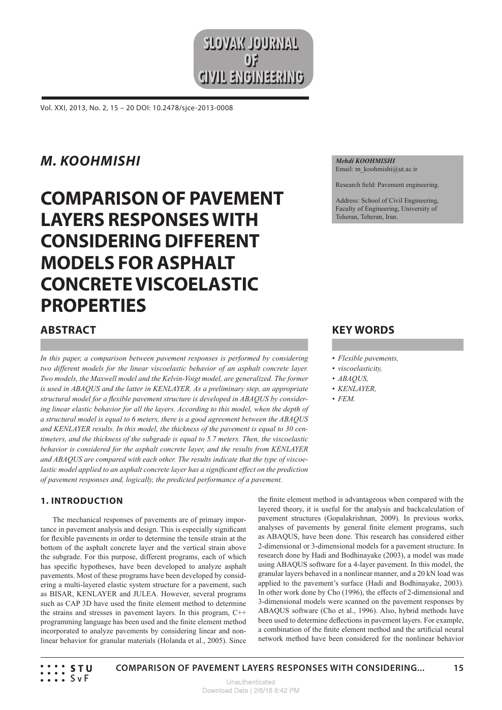 Comparison Of Pavement Layers Responses With Considering Different Models For Asphalt Concrete Viscoelastic Properties Topic Of Research Paper In Civil Engineering Download Scholarly Article Pdf And Read For Free On Cyberleninka