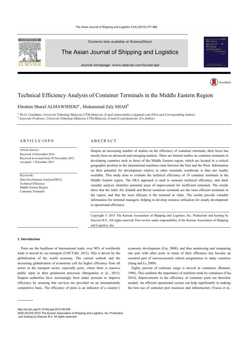 Technical Efficiency Analysis of Container Terminals in the
