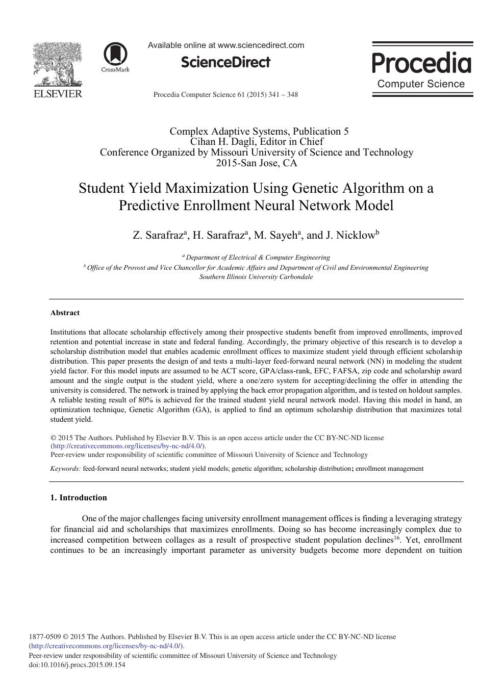 Student Yield Maximization Using Genetic Algorithm on a