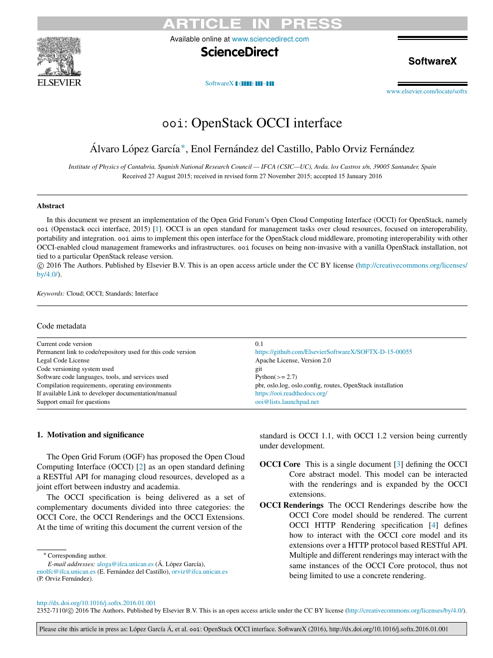 ooi: OpenStack OCCI interface – topic of research paper in