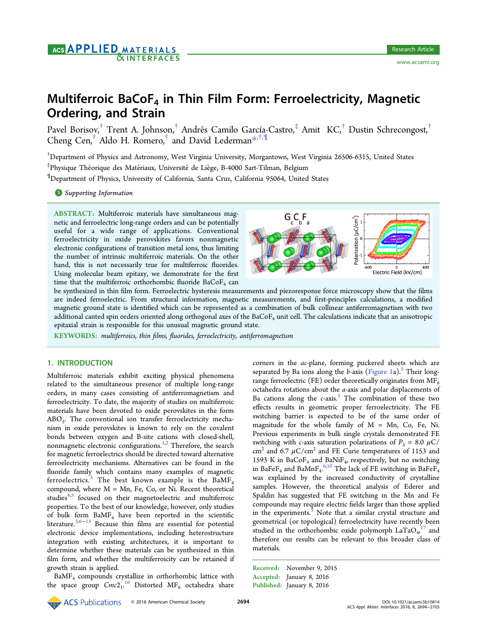 Multiferroic BaCoF 4 in Thin Film Form: Ferroelectricity