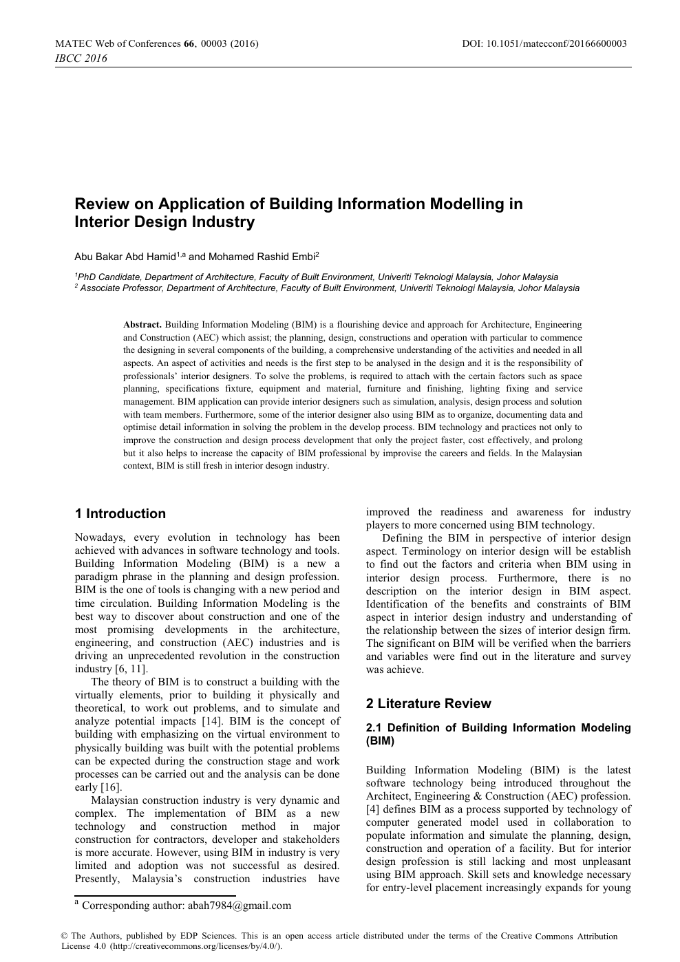 Review on Application of Building Information Modelling in