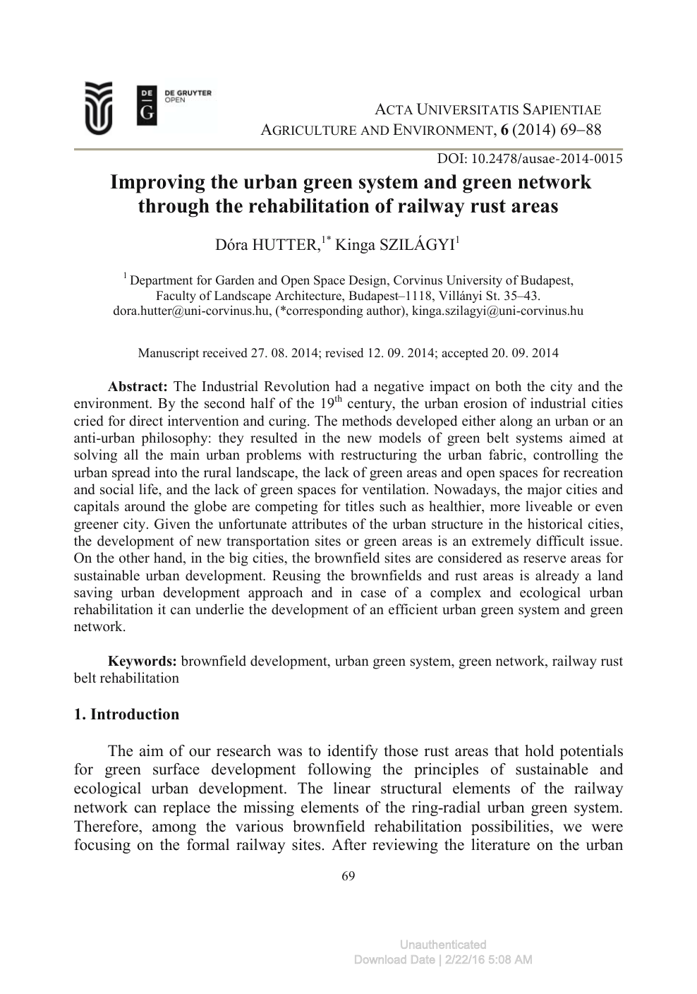 Improving the urban green system and green network through