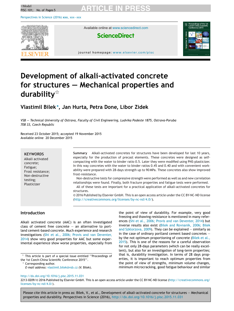 Development of alkali-activated concrete for structures – Mechanical
