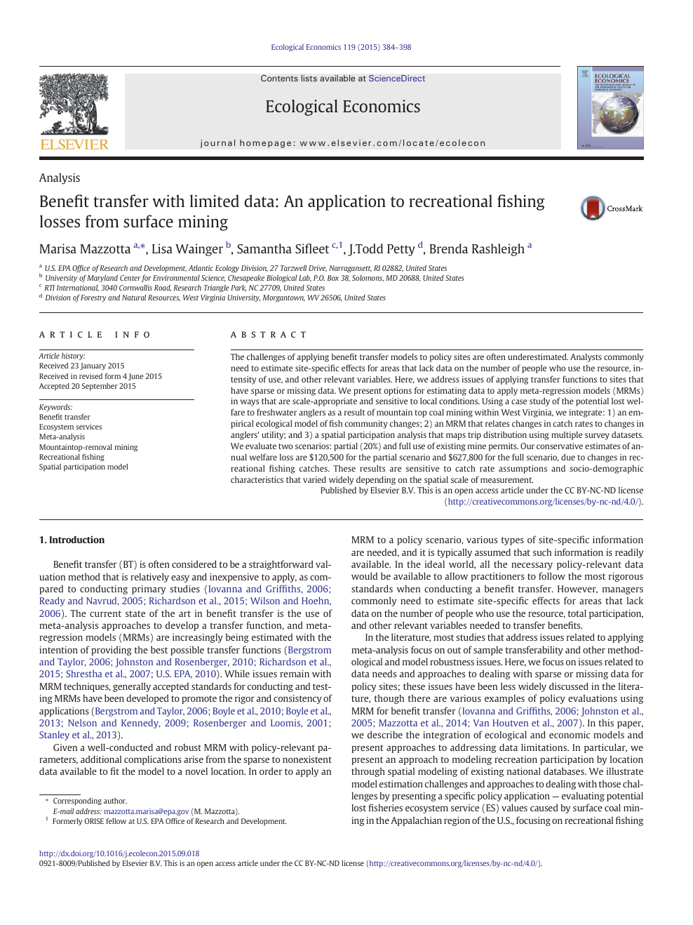 Benefit transfer with limited data: An application to