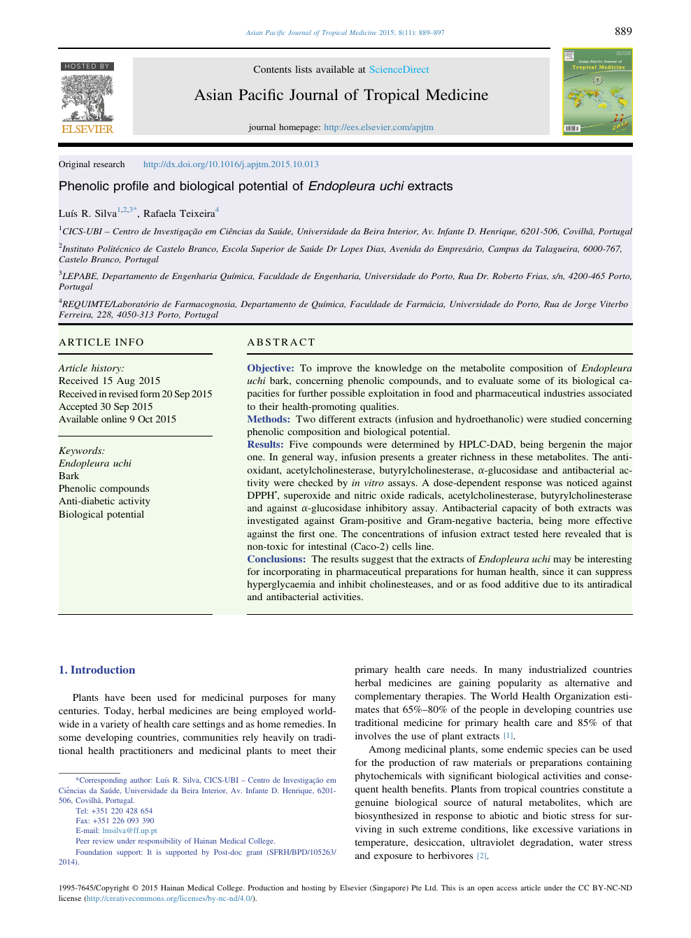 Phenolic profile and biological potential of Endopleura uchi