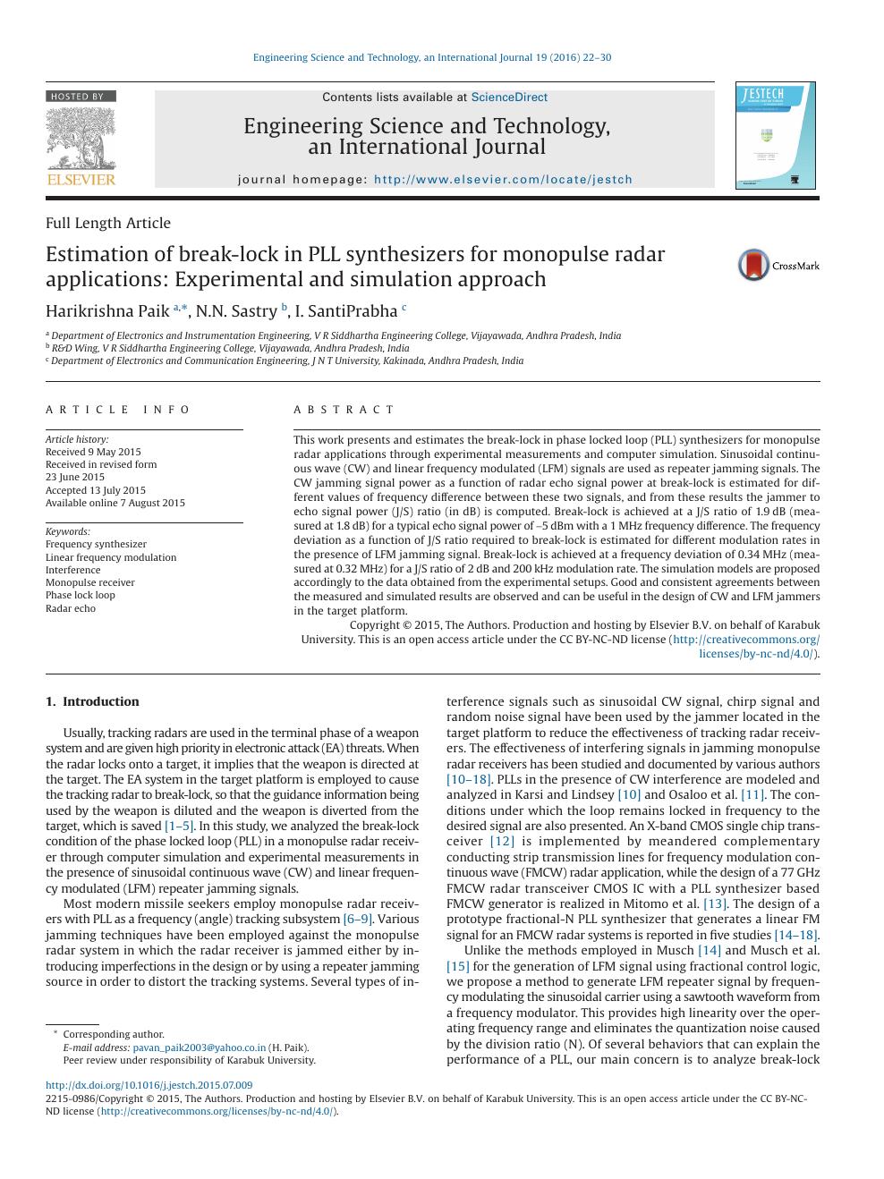 Estimation of break-lock in PLL synthesizers for monopulse radar