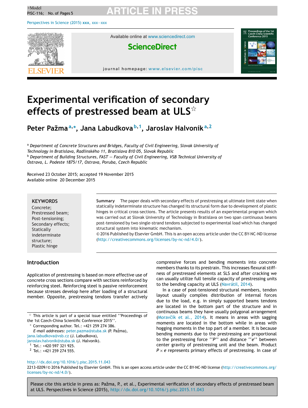 Experimental verification of secondary effects of prestressed beam