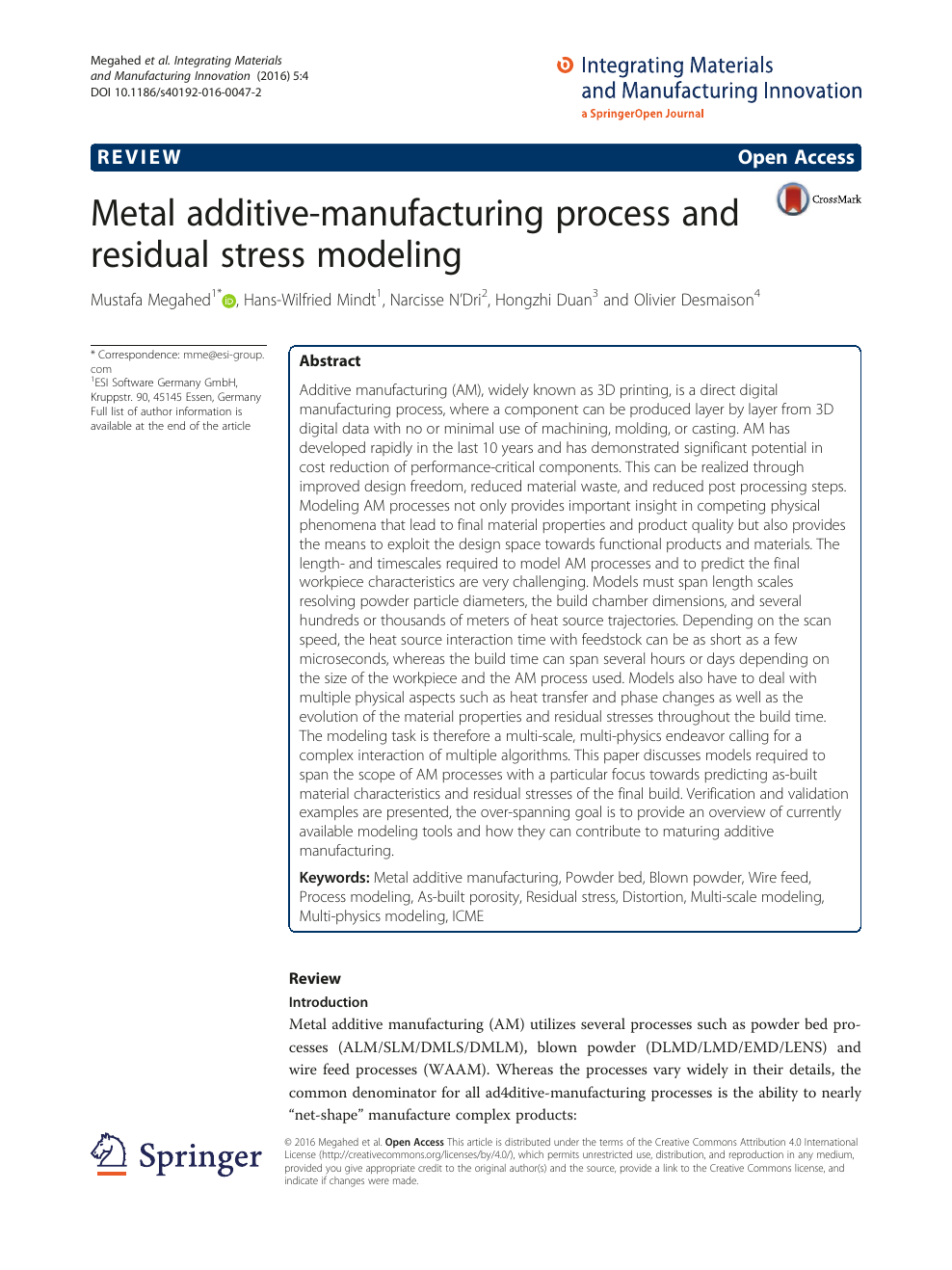Metal additive-manufacturing process and residual stress