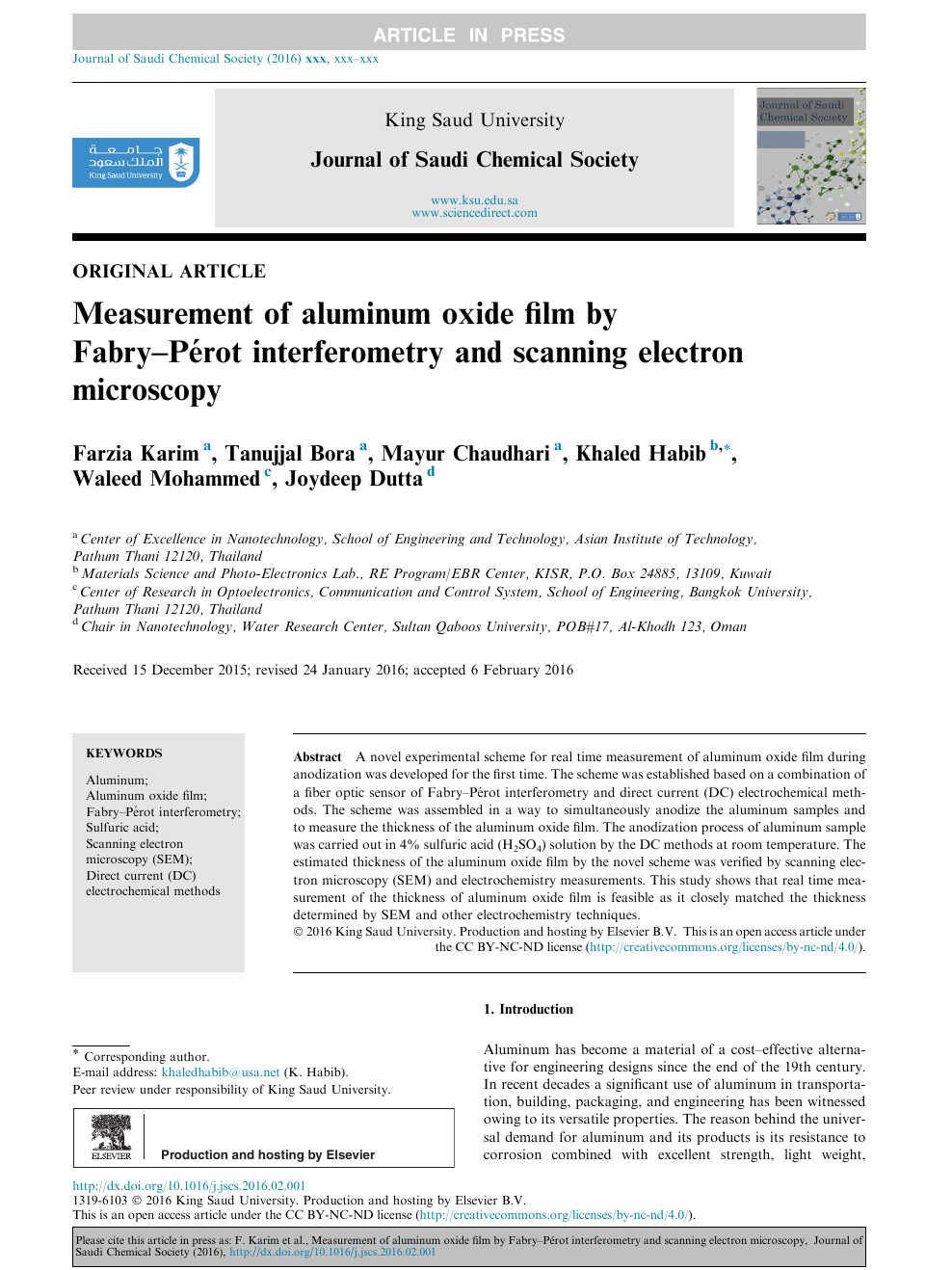 Measurement of aluminum oxide film by Fabry–Pérot