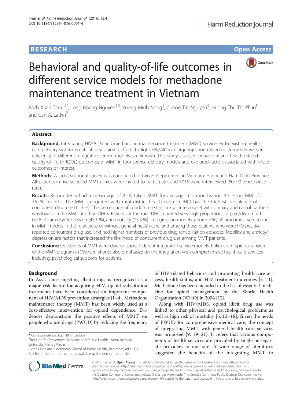 Behavioral And Quality Of Life Outcomes In Different Service Models For Methadone Maintenance Treatment In Vietnam Topic Of Research Paper In Economics And Business Download Scholarly Article Pdf And Read For Free On