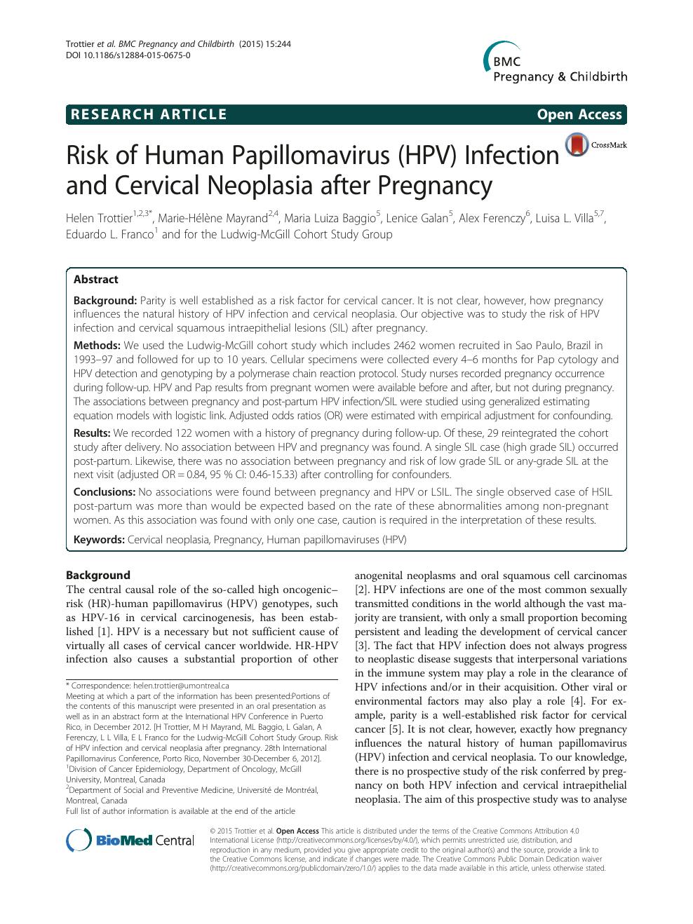 Human papillomavirus pregnant