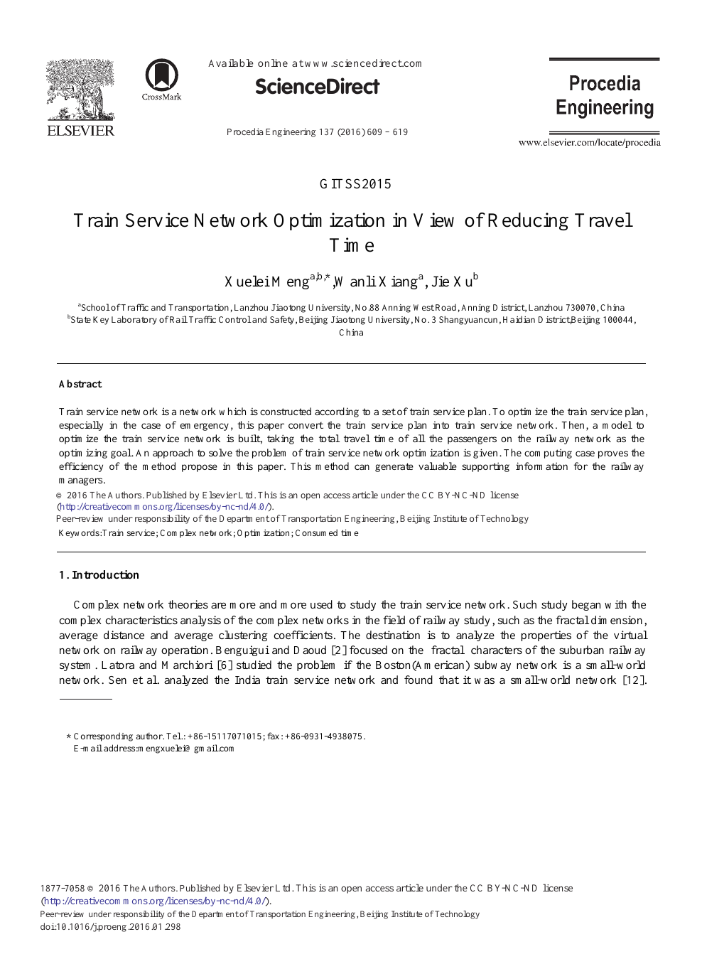 Train Service Network Optimization in View of Reducing Travel Time