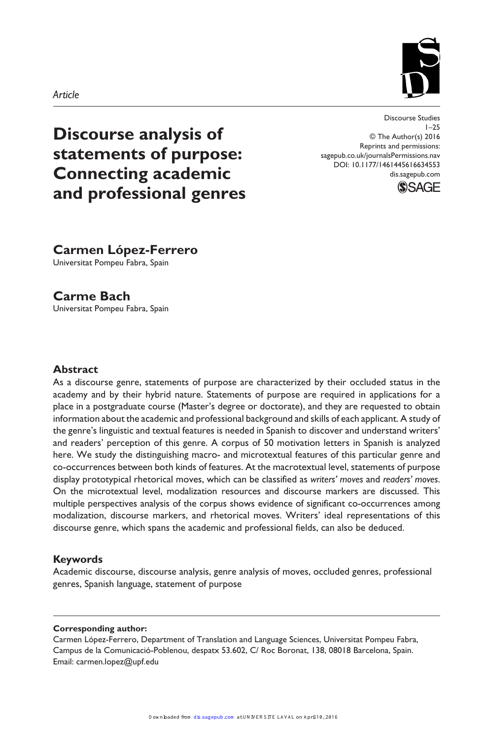 Discourse Analysis Of Statements Of Purpose Connecting