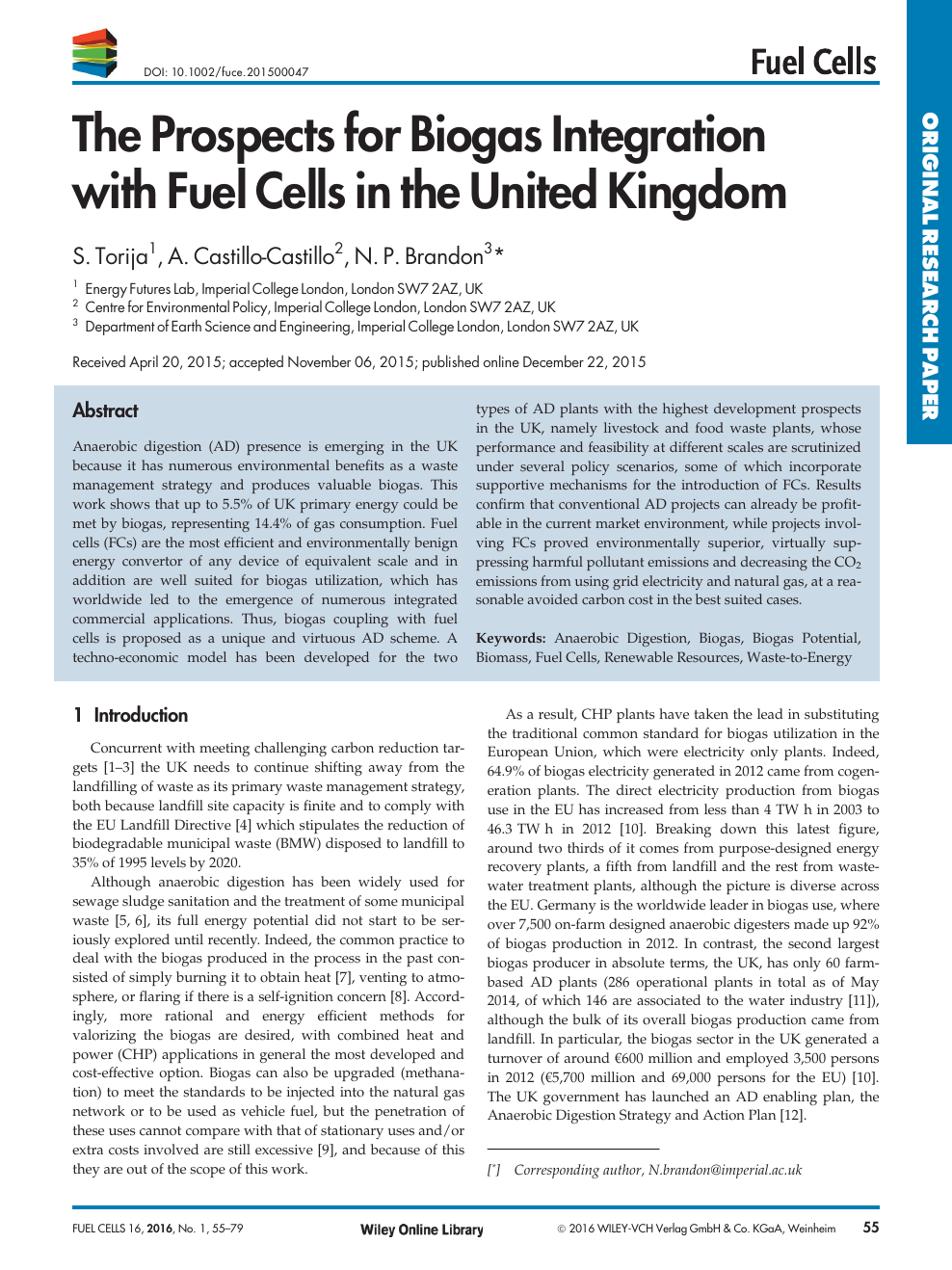 The Prospects for Biogas Integration with Fuel Cells in the