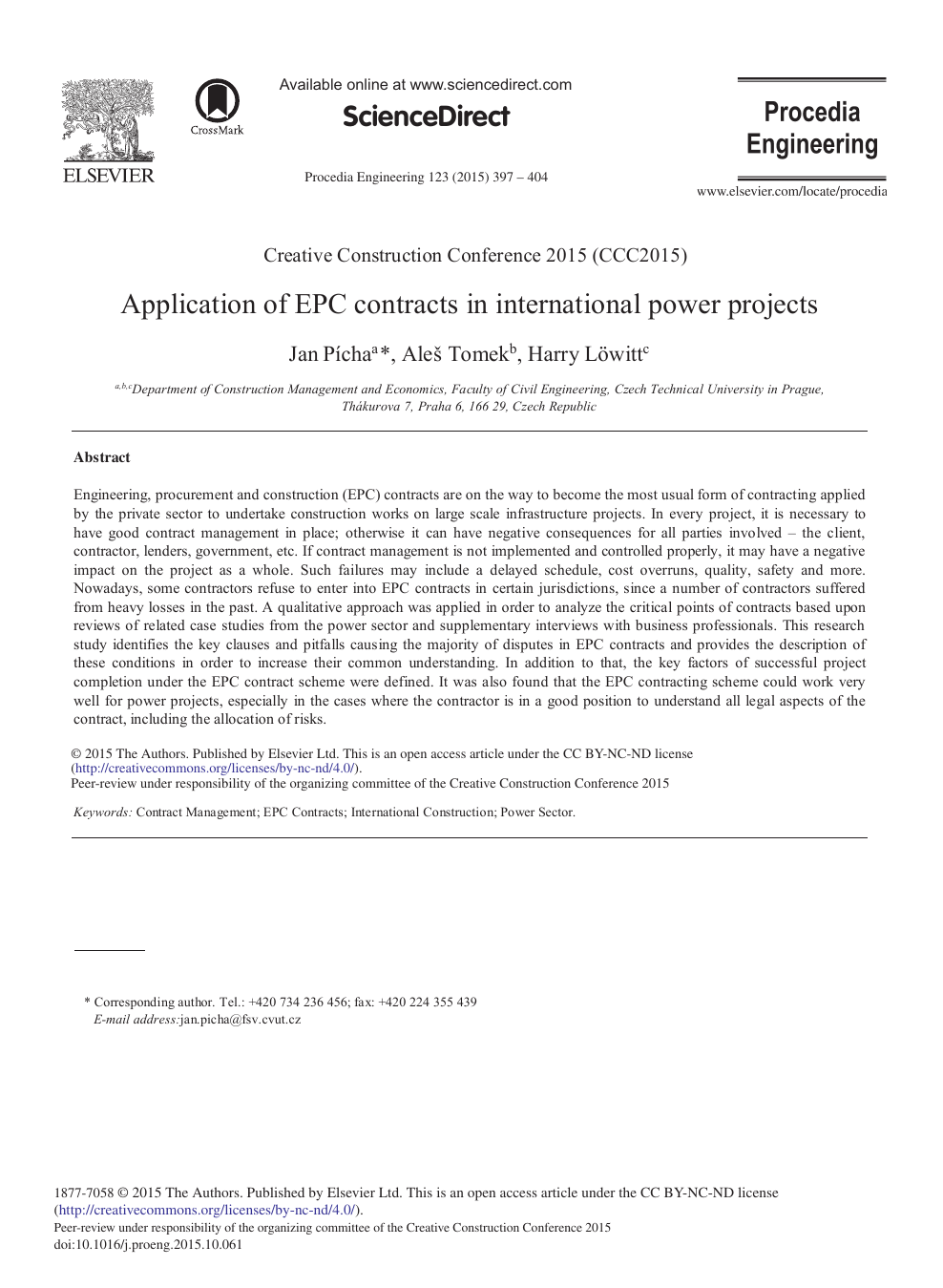 Application of EPC Contracts in International Power Projects