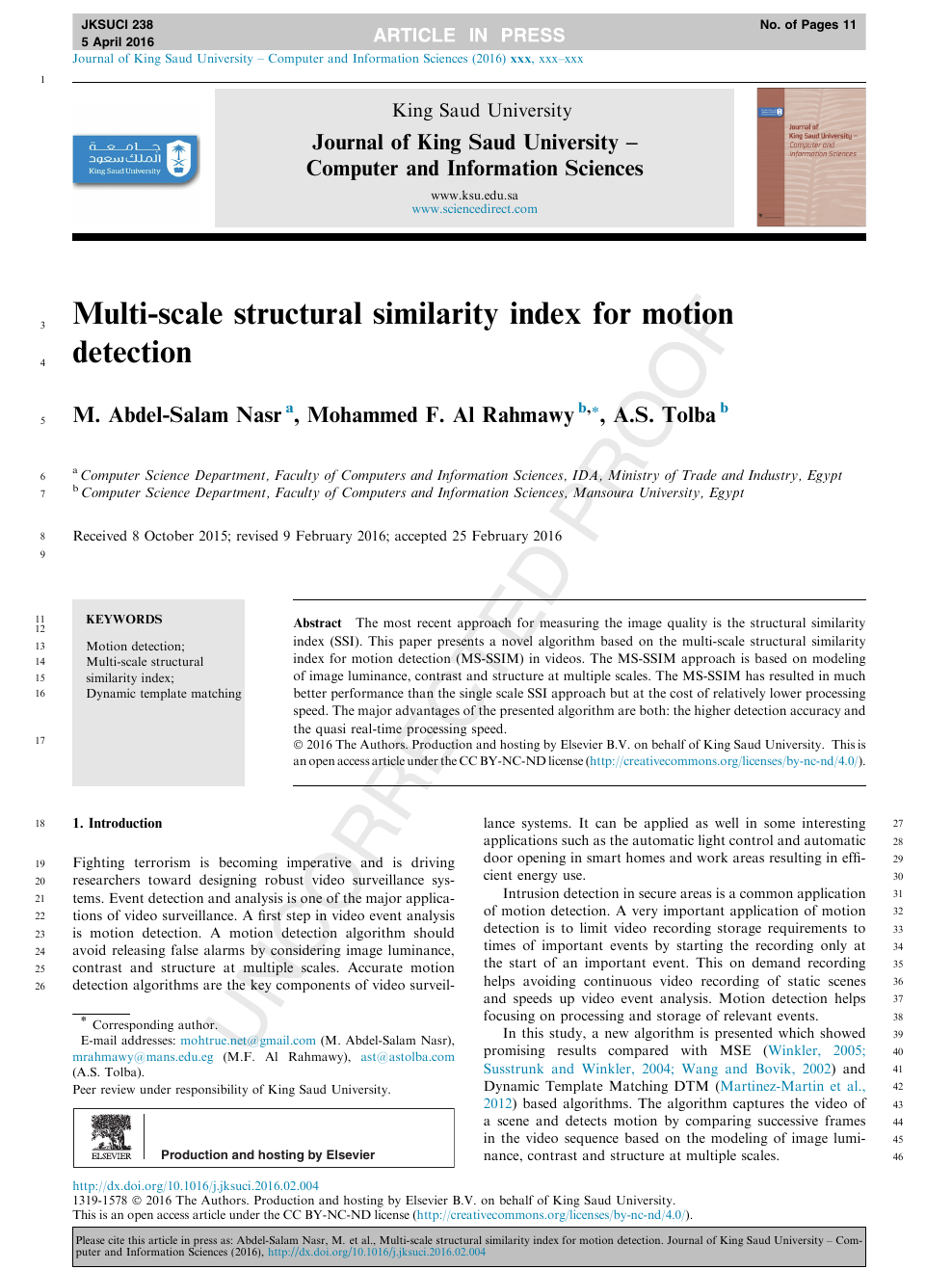 Multi-scale structural similarity index for motion detection