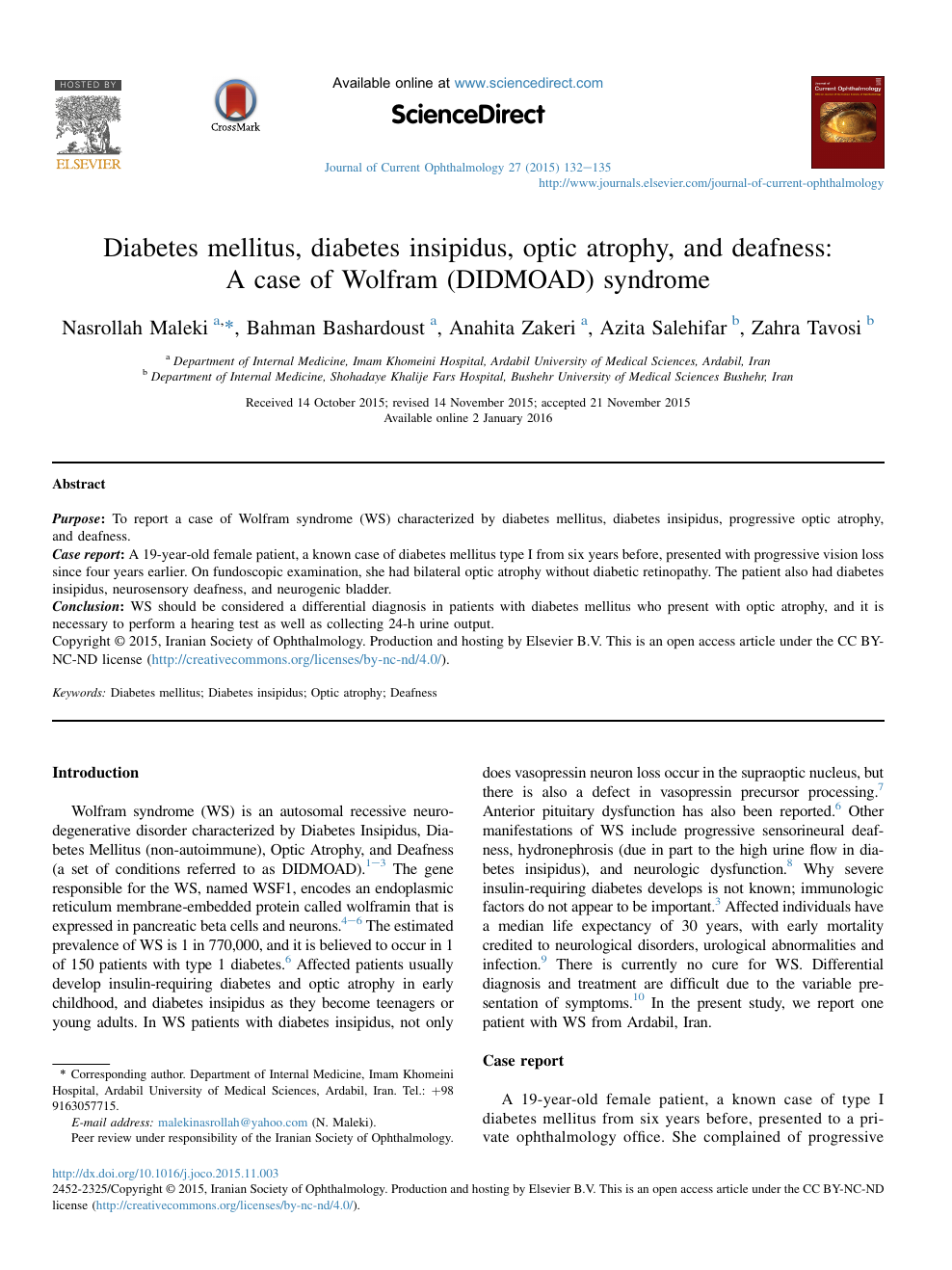 Diabetes Mellitus Diabetes Insipidus Optic Atrophy And Deafness