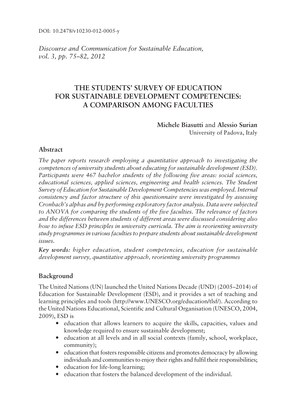 The Students' Survey of Education for Sustainable
