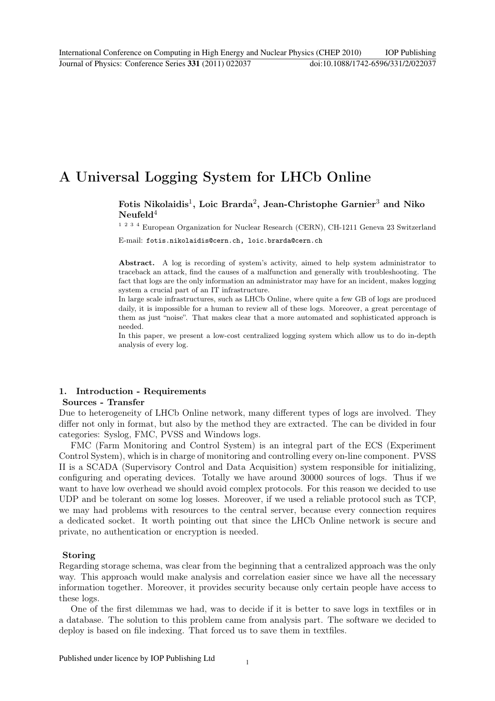 A Universal Logging System for LHCb Online – topic of research paper