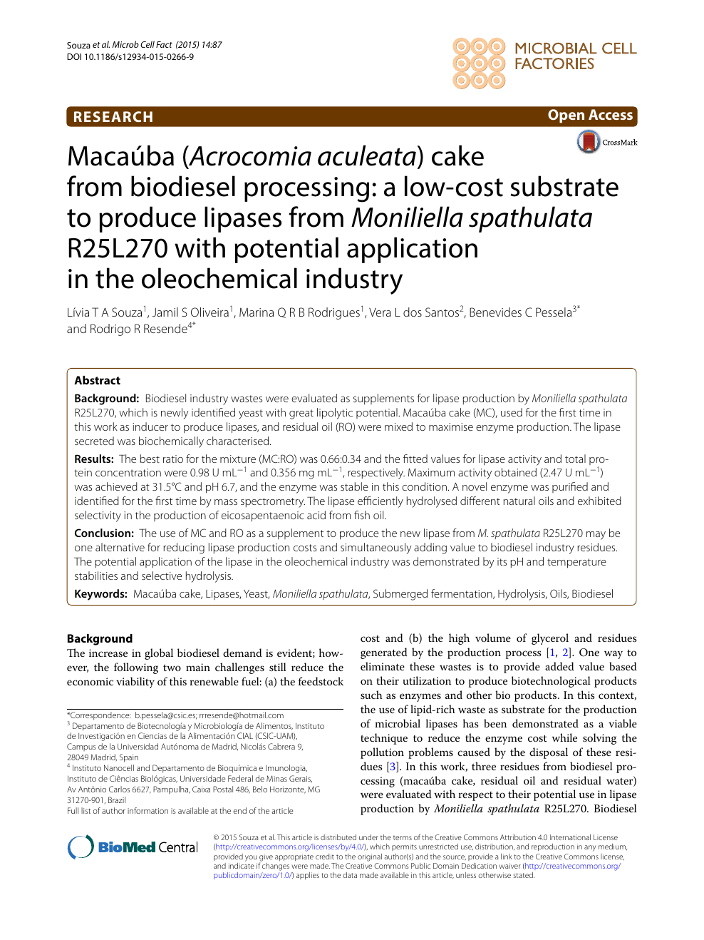Macaúba (Acrocomia aculeata) cake from biodiesel processing