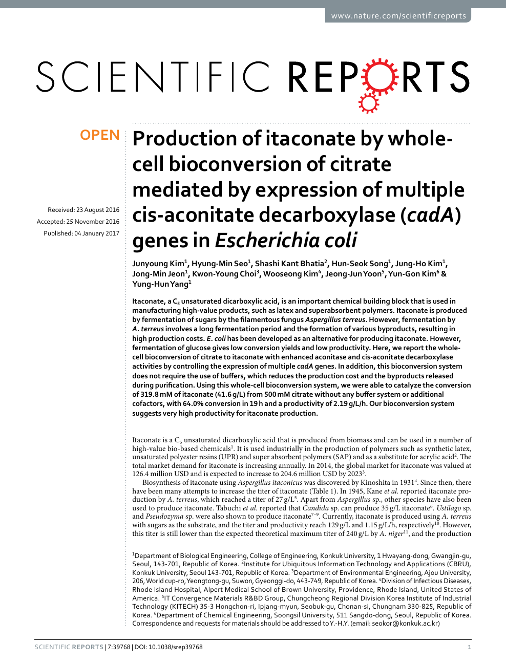 Production of itaconate by whole-cell bioconversion of citrate