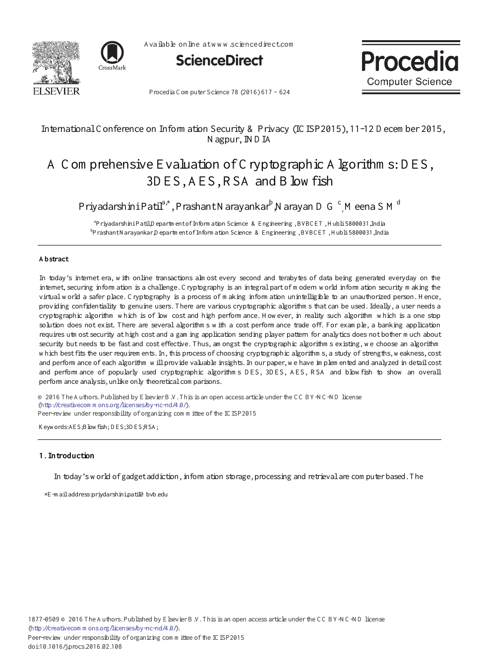 A Comprehensive Evaluation of Cryptographic Algorithms: DES