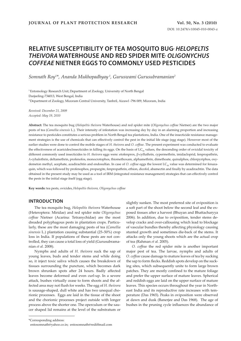 Relative Susceptibility of Tea Mosquito Bug, Helopeltis