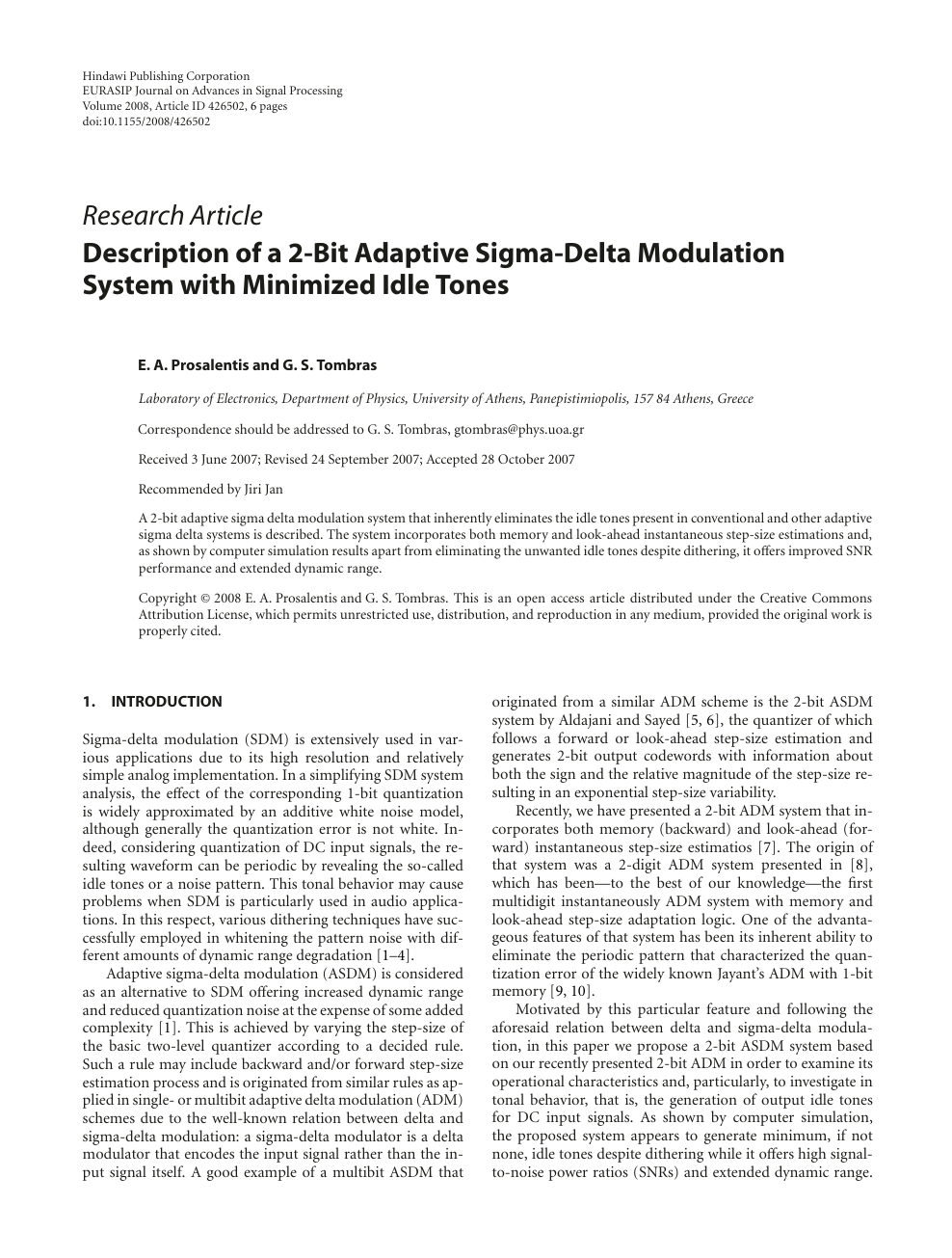 Description of a 2-Bit Adaptive Sigma-Delta Modulation System with