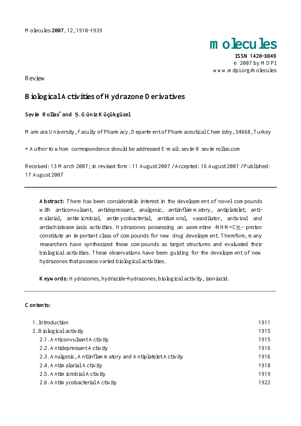 Biological Activities of Hydrazone Derivatives – topic of