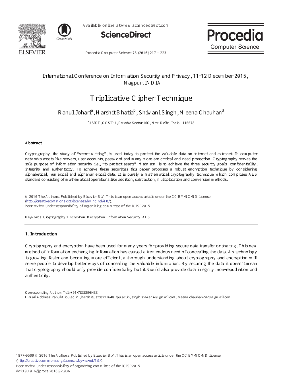 Triplicative Cipher Technique – topic of research paper in