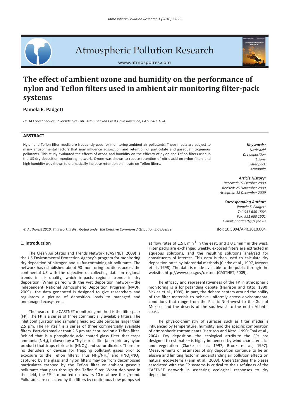 The effect of ambient ozone and humidity on the performance