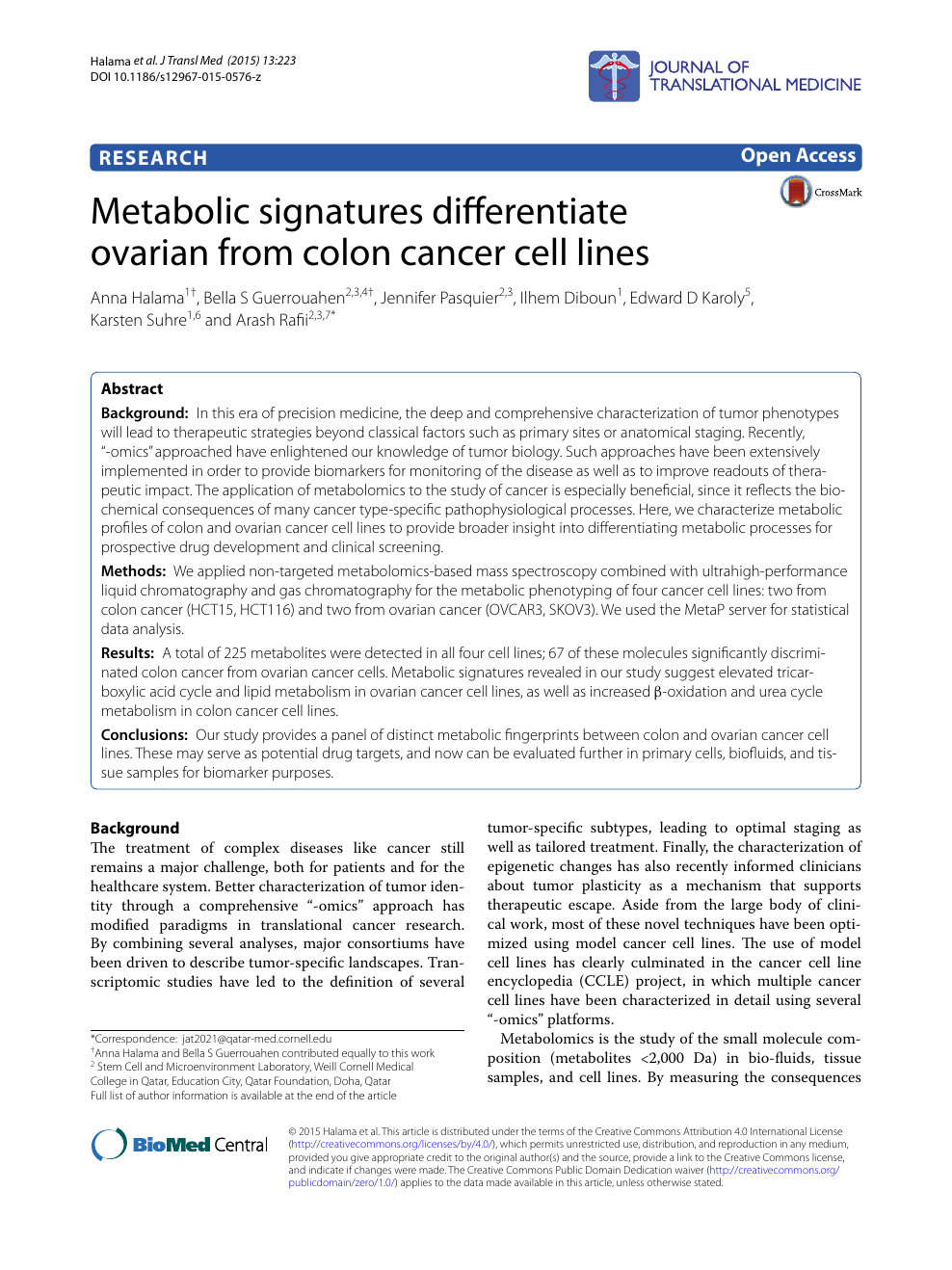 Metabolic Signatures Differentiate Ovarian From Colon Cancer Cell Lines Topic Of Research Paper In Veterinary Science Download Scholarly Article Pdf And Read For Free On Cyberleninka Open Science Hub