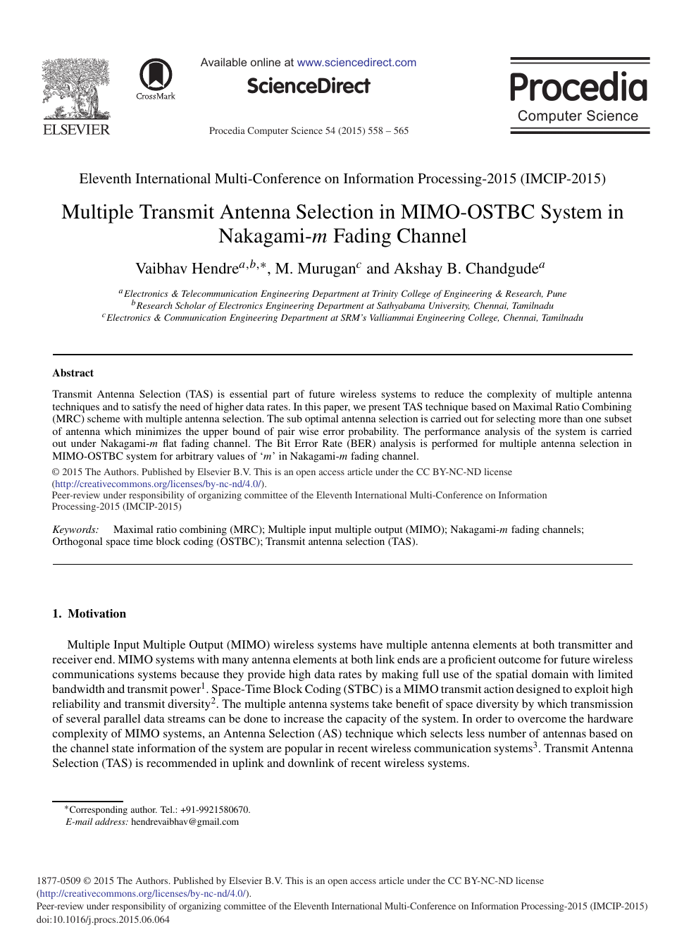 Multiple Transmit Antenna Selection in MIMO-OSTBC System in