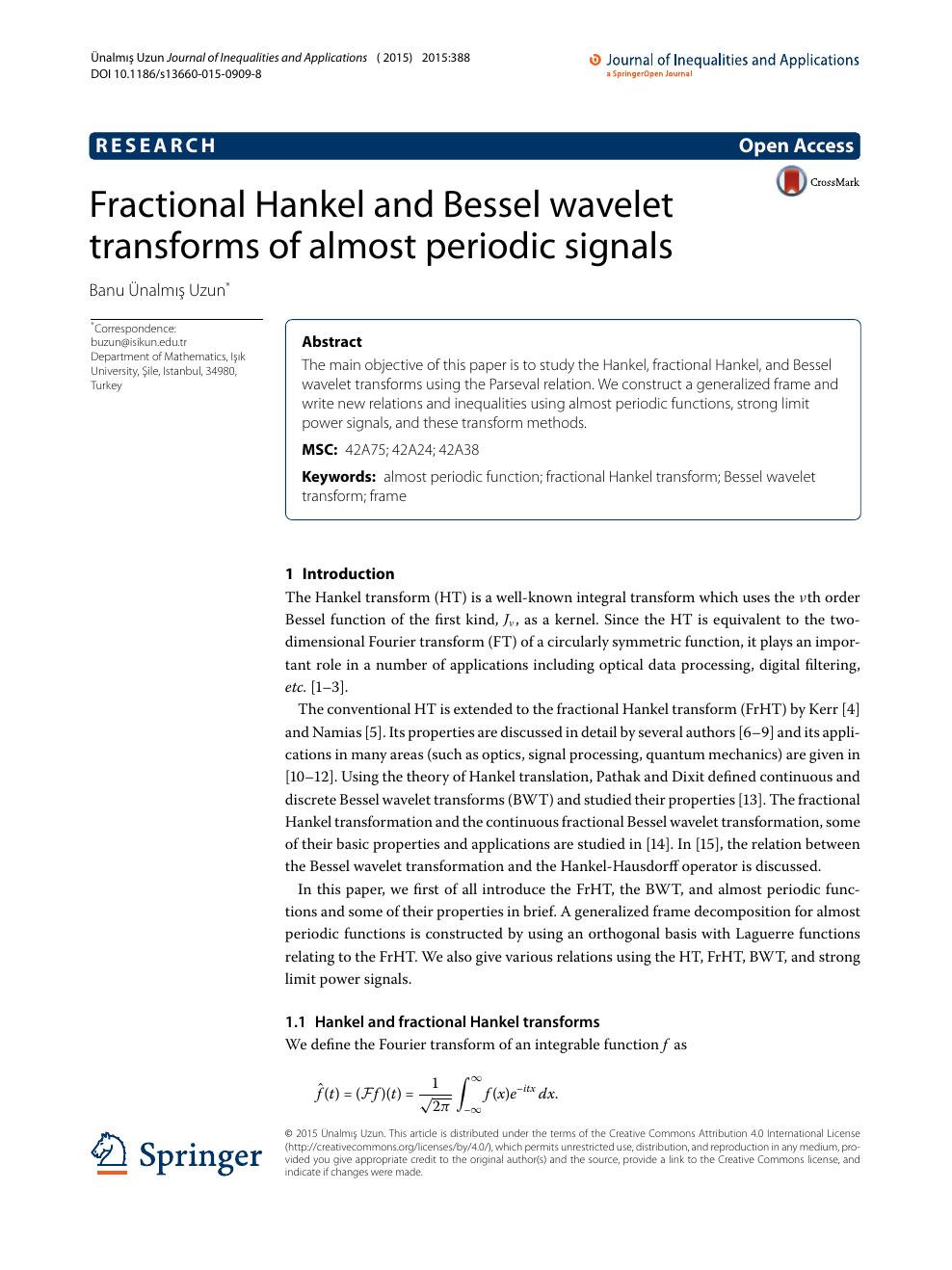 Fractional Hankel and Bessel wavelet transforms of almost