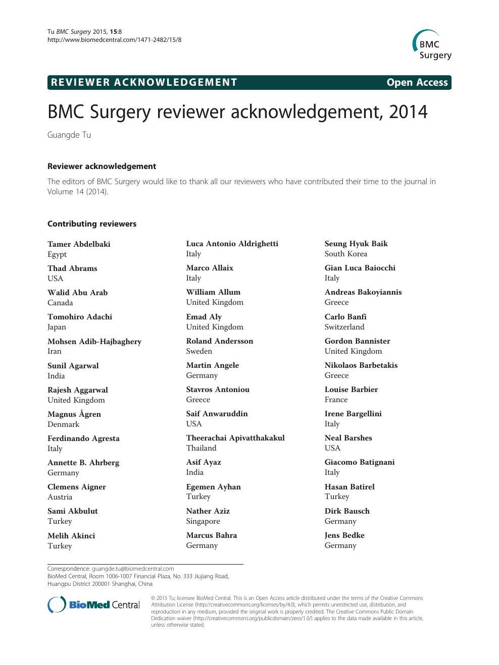 Bmc Surgery Reviewer Acknowledgement 2014 Topic Of Research Paper